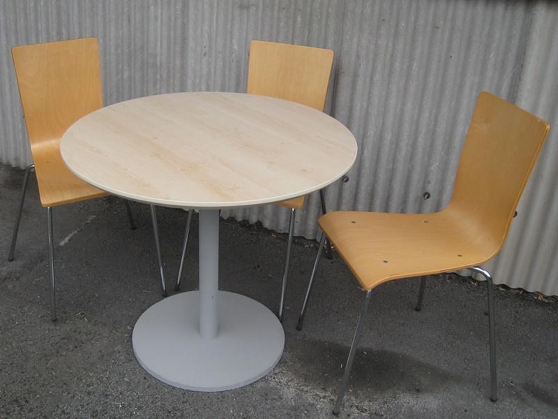 円形テーブル+木製イス3脚 セット